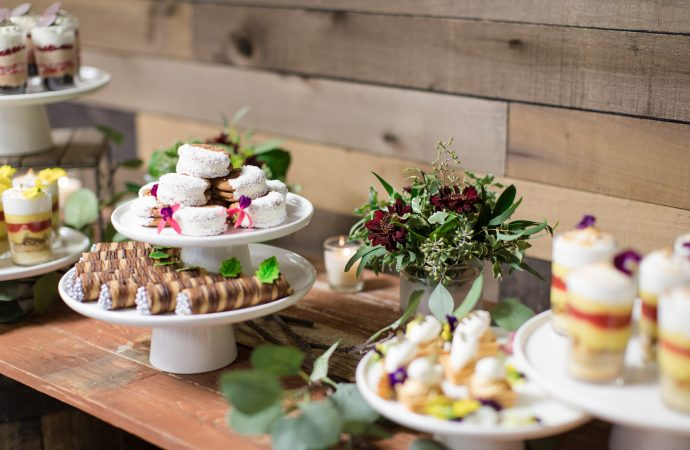 Dessert trays on a table at an event